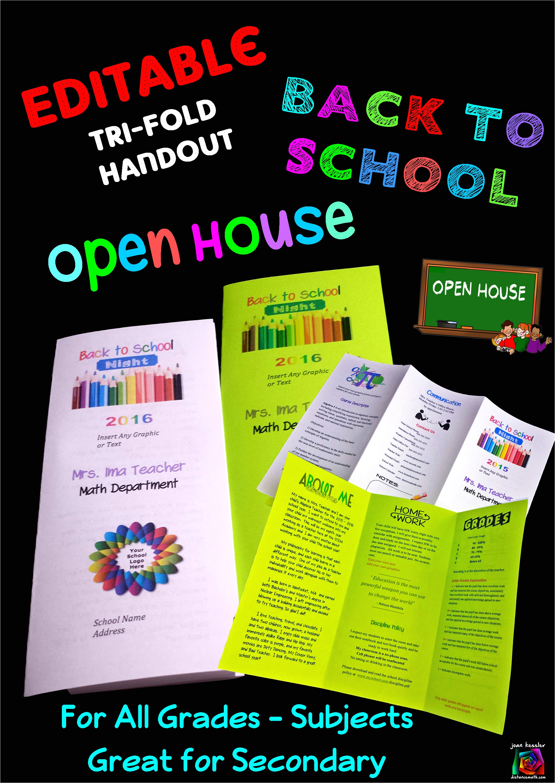 Parent Brochure Templates Editable Open House Parent Night Back to School Tri Fold