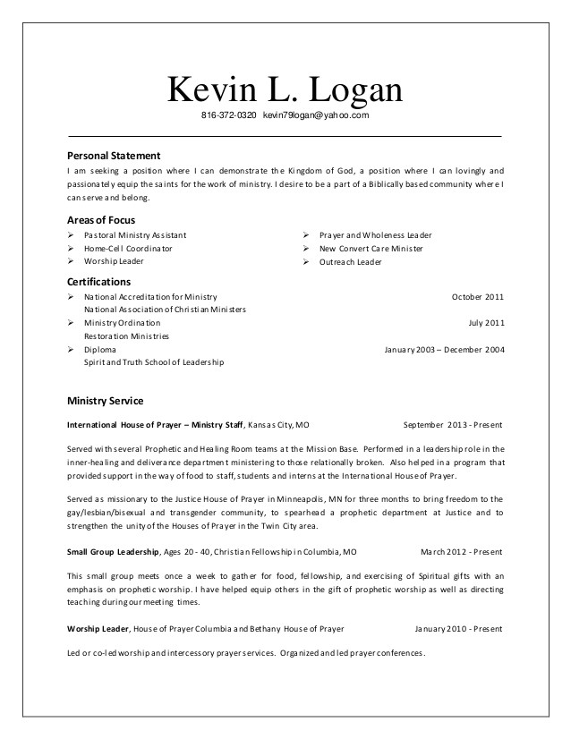 pastor resume