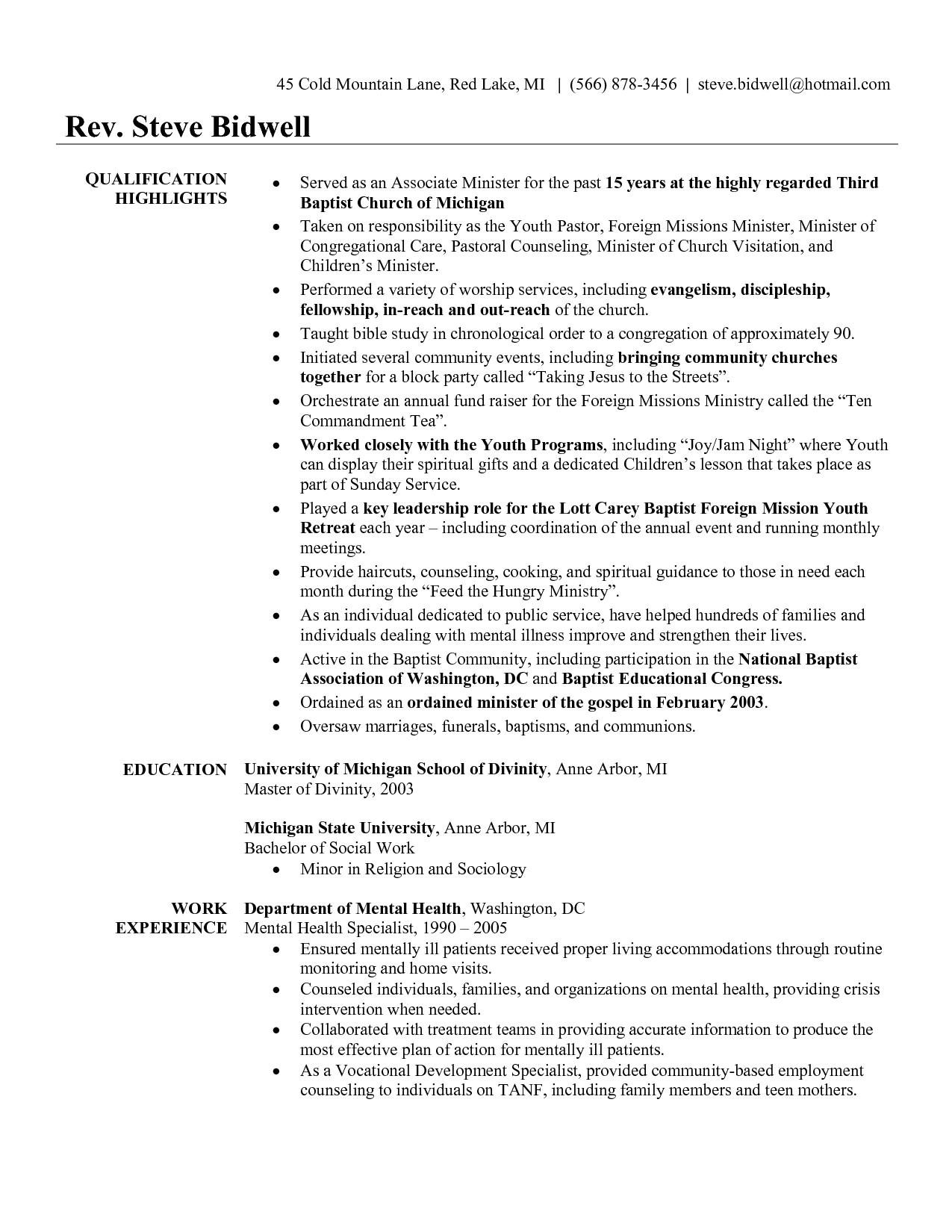 sample pastor resume
