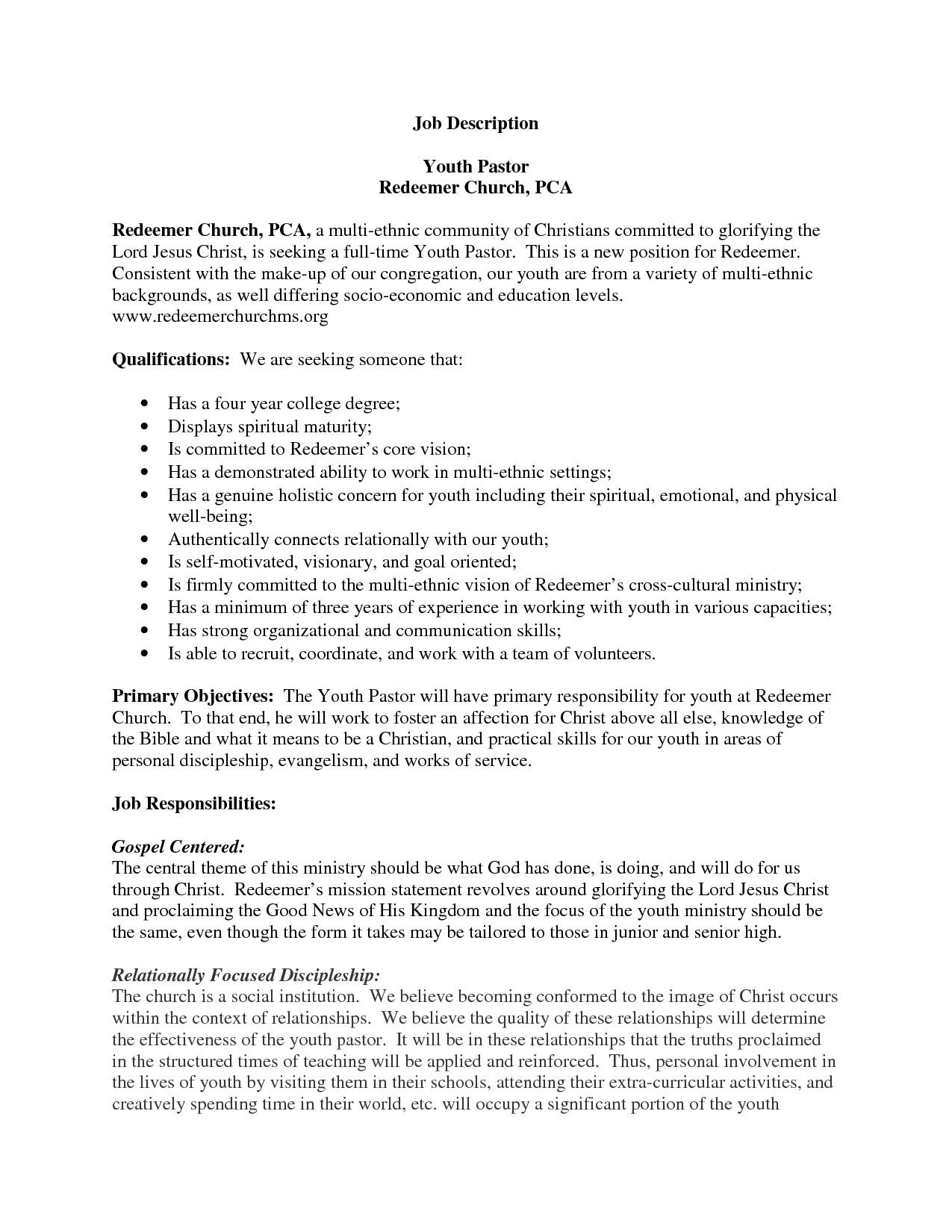 Pastor Resume Sample Youth Pastor Resume Resume Badak