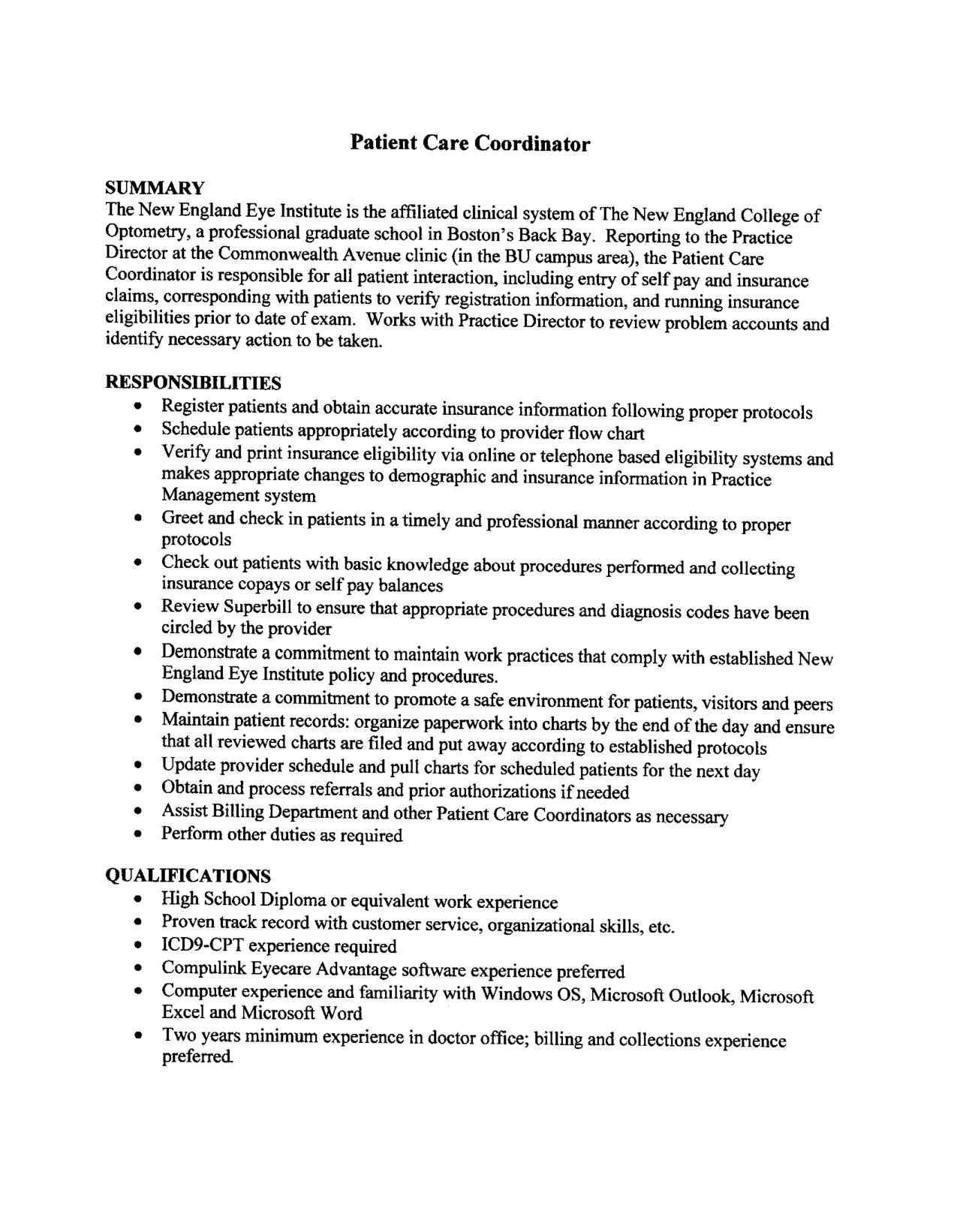 Patient Care Technician Resume Objective Sample 2016 Patient Care Coordinator Resume Sample
