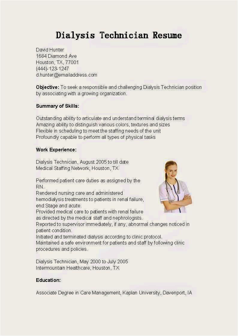 dialysis patient care technician resume sample
