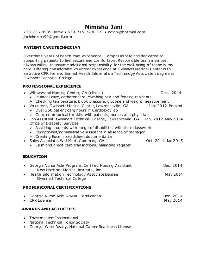 nurse tech resume