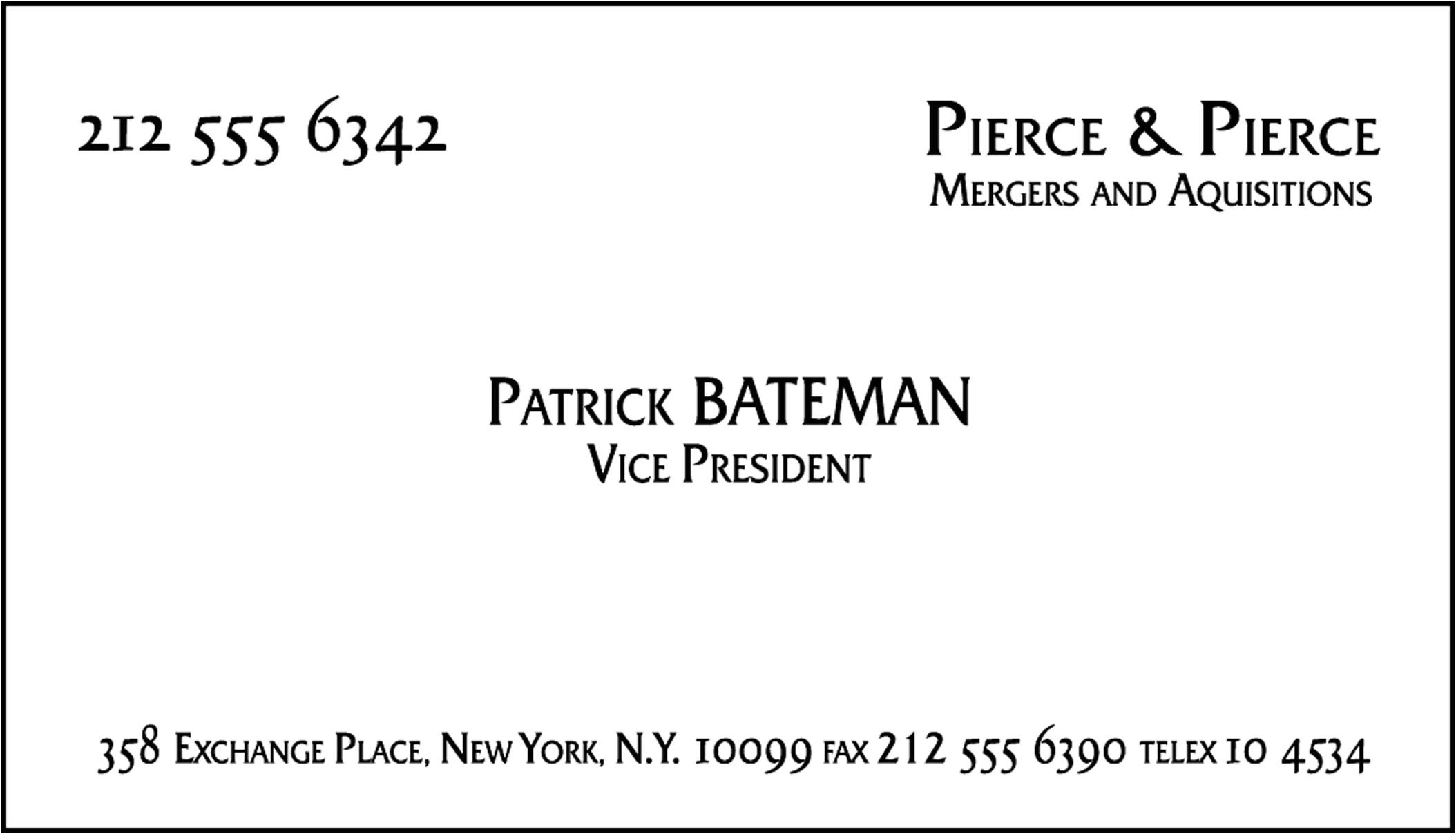 Patrick Bateman Business Card Template 100th Post top 100 Movie Props Memorabilia Plus Free
