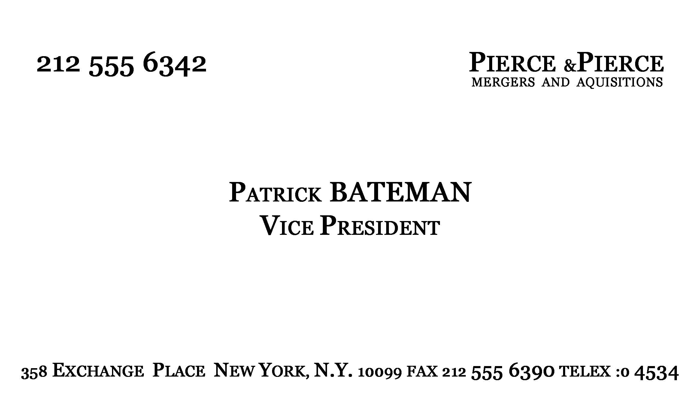 Patrick Bateman Business Card Template Make Patrick Bateman 39 S Business Card Youtube