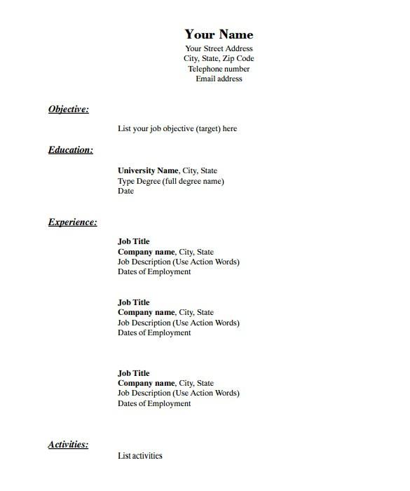 blank resume templates