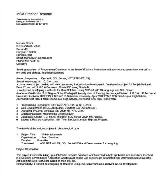 Pdf Resume Templates 14 Resume Templates for Freshers Pdf Doc Free