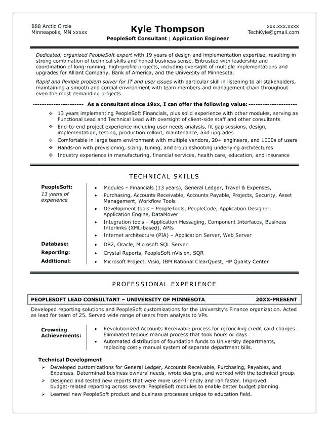 peoplesoft finance functional resume