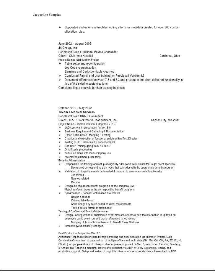 Peoplesoft Hrms Resume Sample Peoplesoft Hrms Functional Consultant Resume Resume Ideas