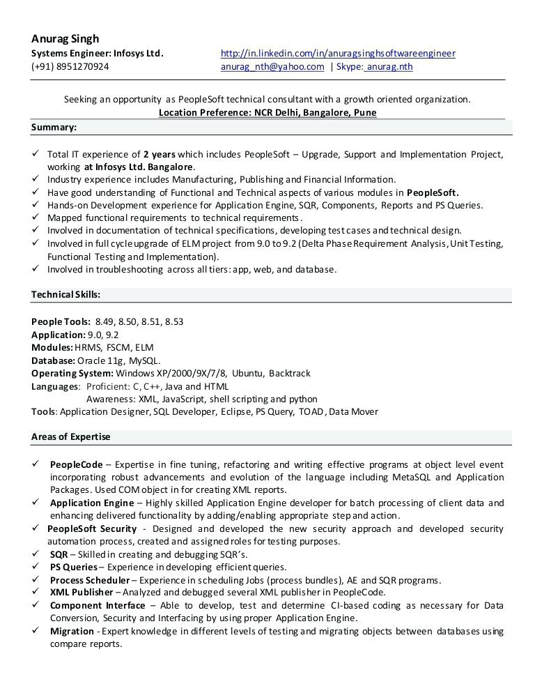 Peoplesoft Hrms Resume Sample Sample Cv oracle Consultant Choice Image Certificate