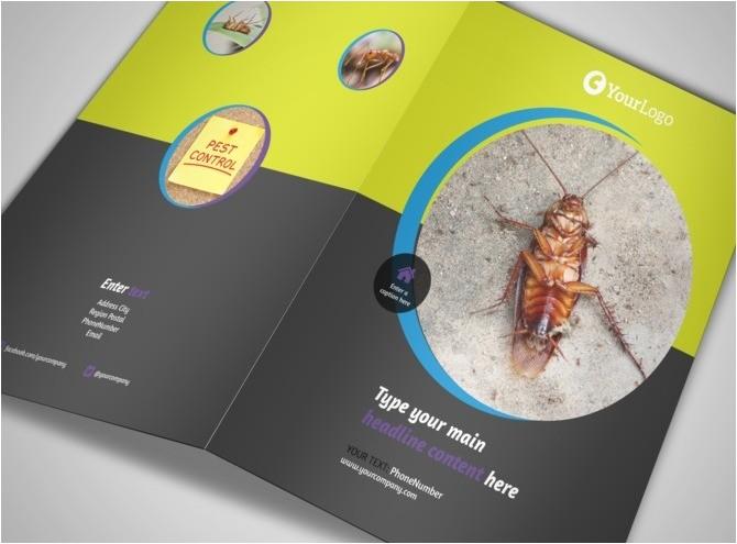 pest control bi fold brochure template 2