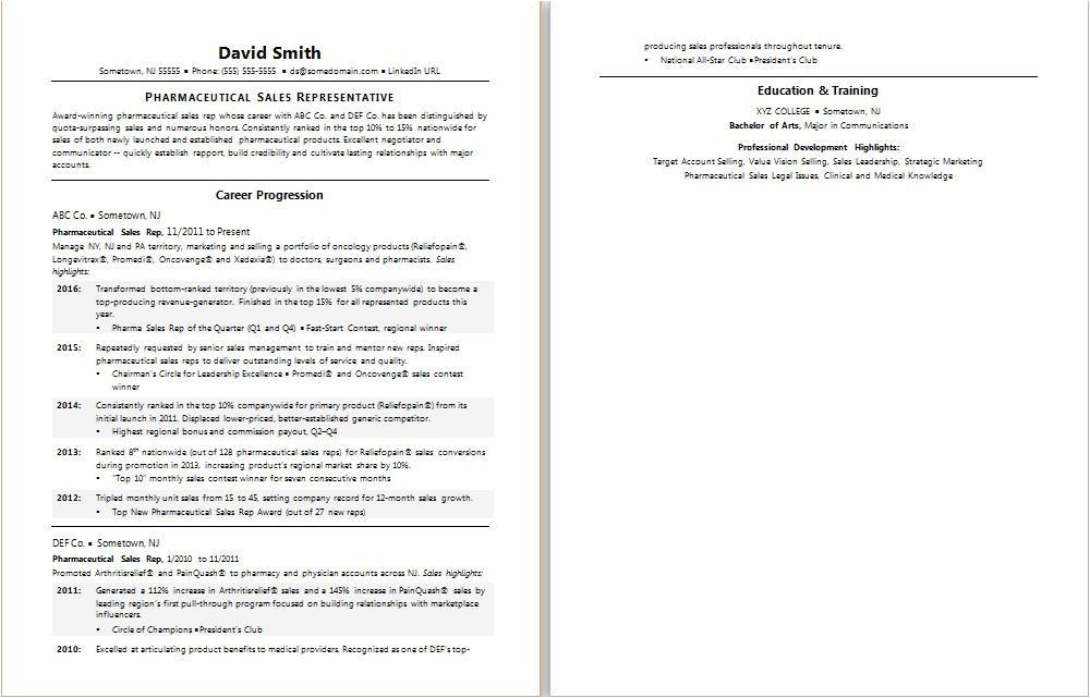 sample resume pharma sales