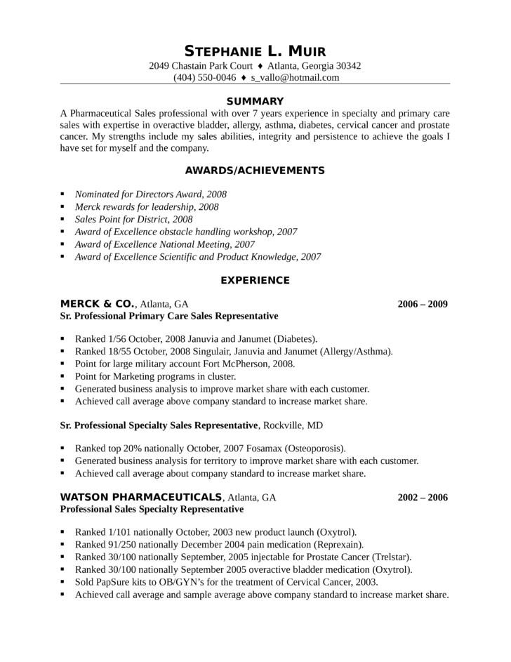 professional pharmaceutical sales representative resume templates and samples