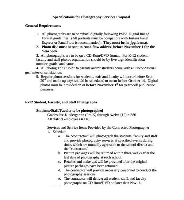 Photography Bid Proposal Template 13 Photography Proposal Templates Sample Templates