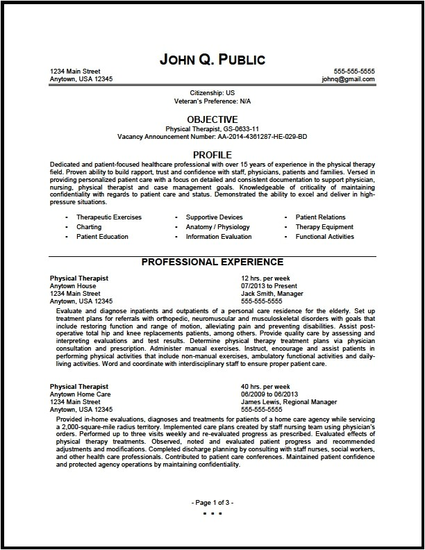 federal physical therapist resume sample 01