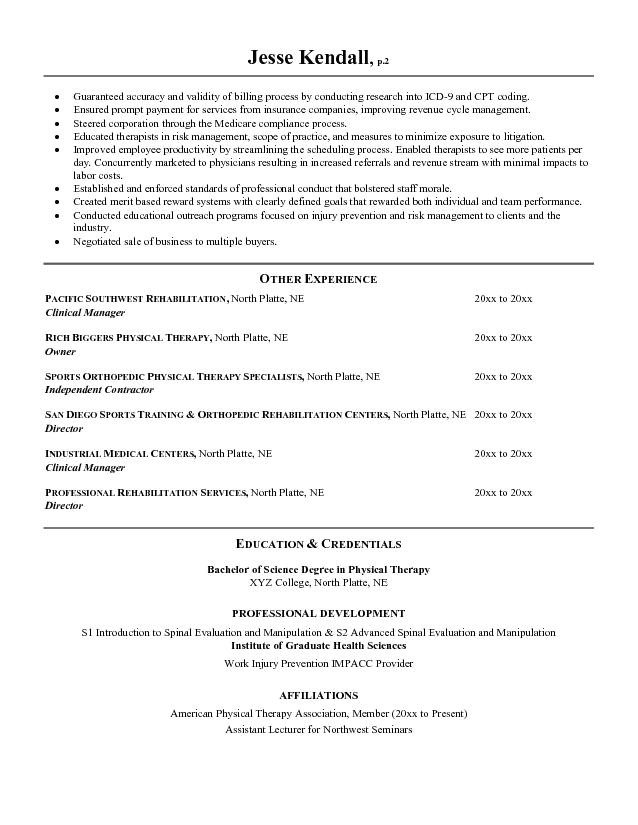 good physical therapy technician resume sample