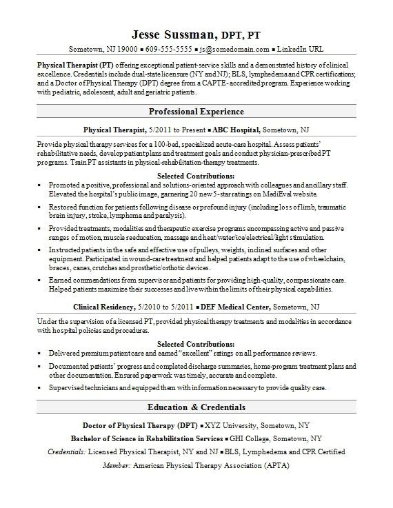 Physical therapy Resume Sample Physical therapist Resume Sample Monster Com