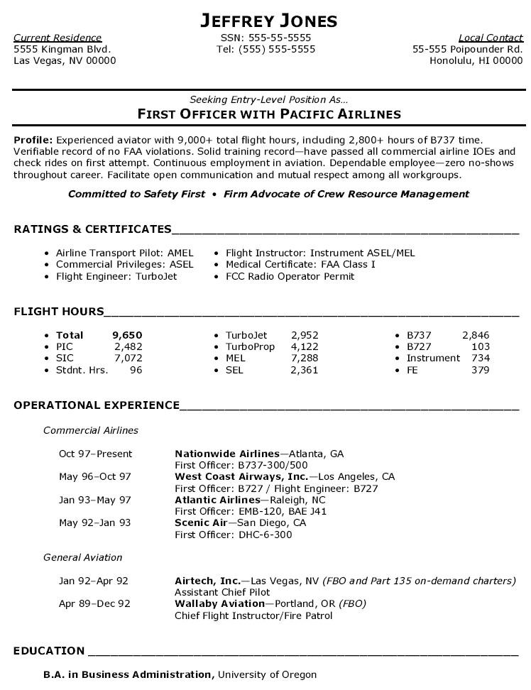 resume pilot cv example