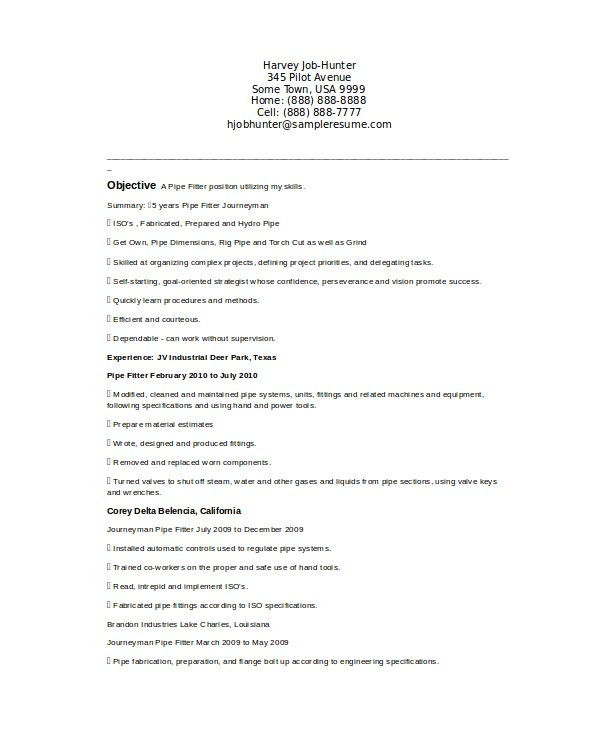 Pipefitter foreman Resume Samples Pipefitter Resume Template 6 Free Word Documents