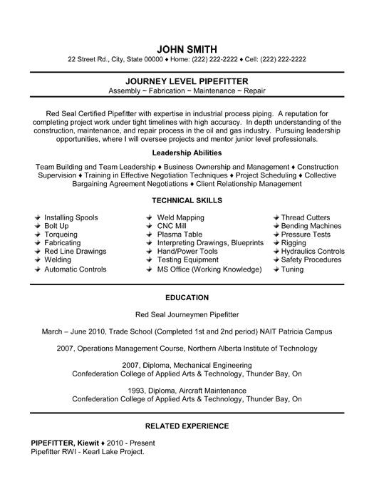 Pipefitter foreman Resume Samples Resume Templates Resume and Templates On Pinterest