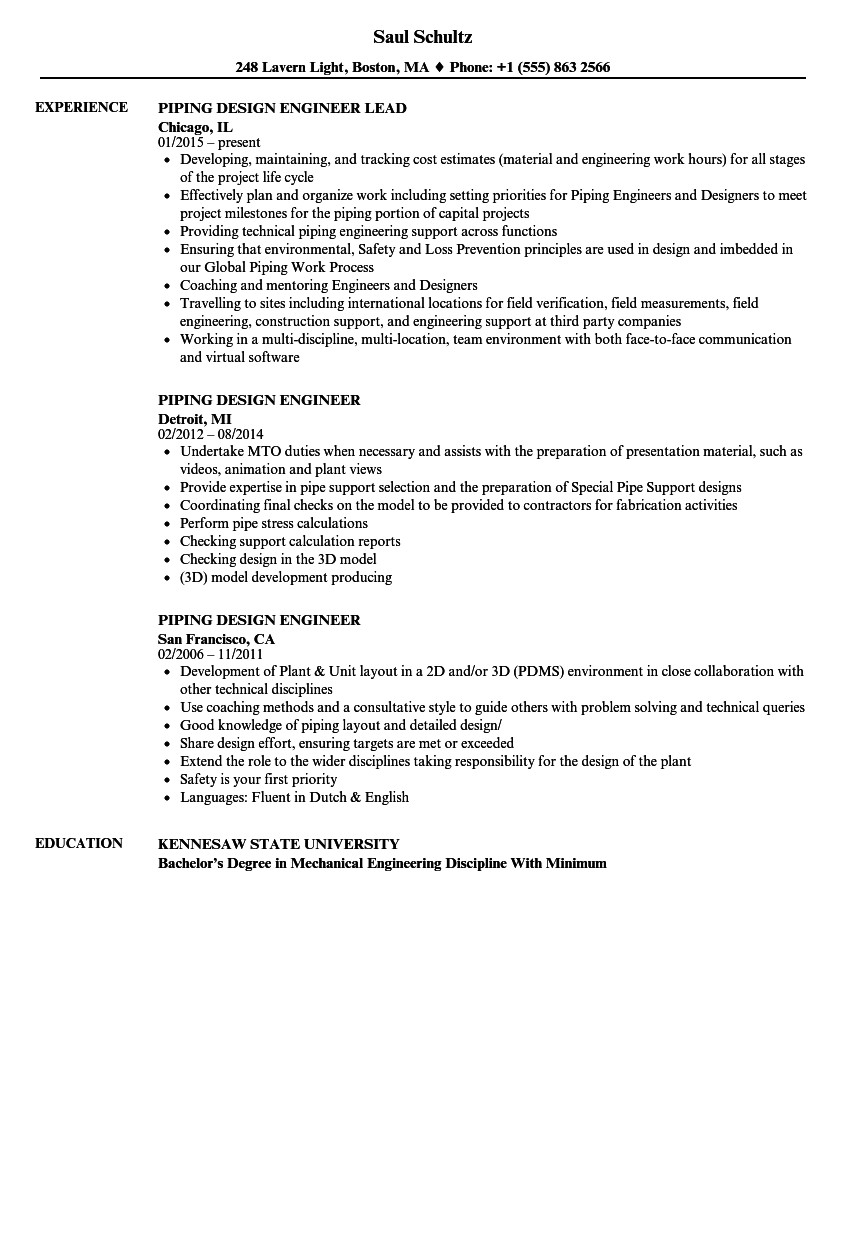 piping design engineer resume sample