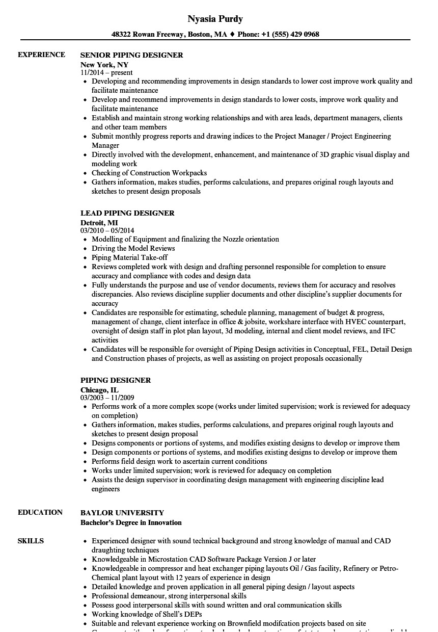 piping designer resume sample