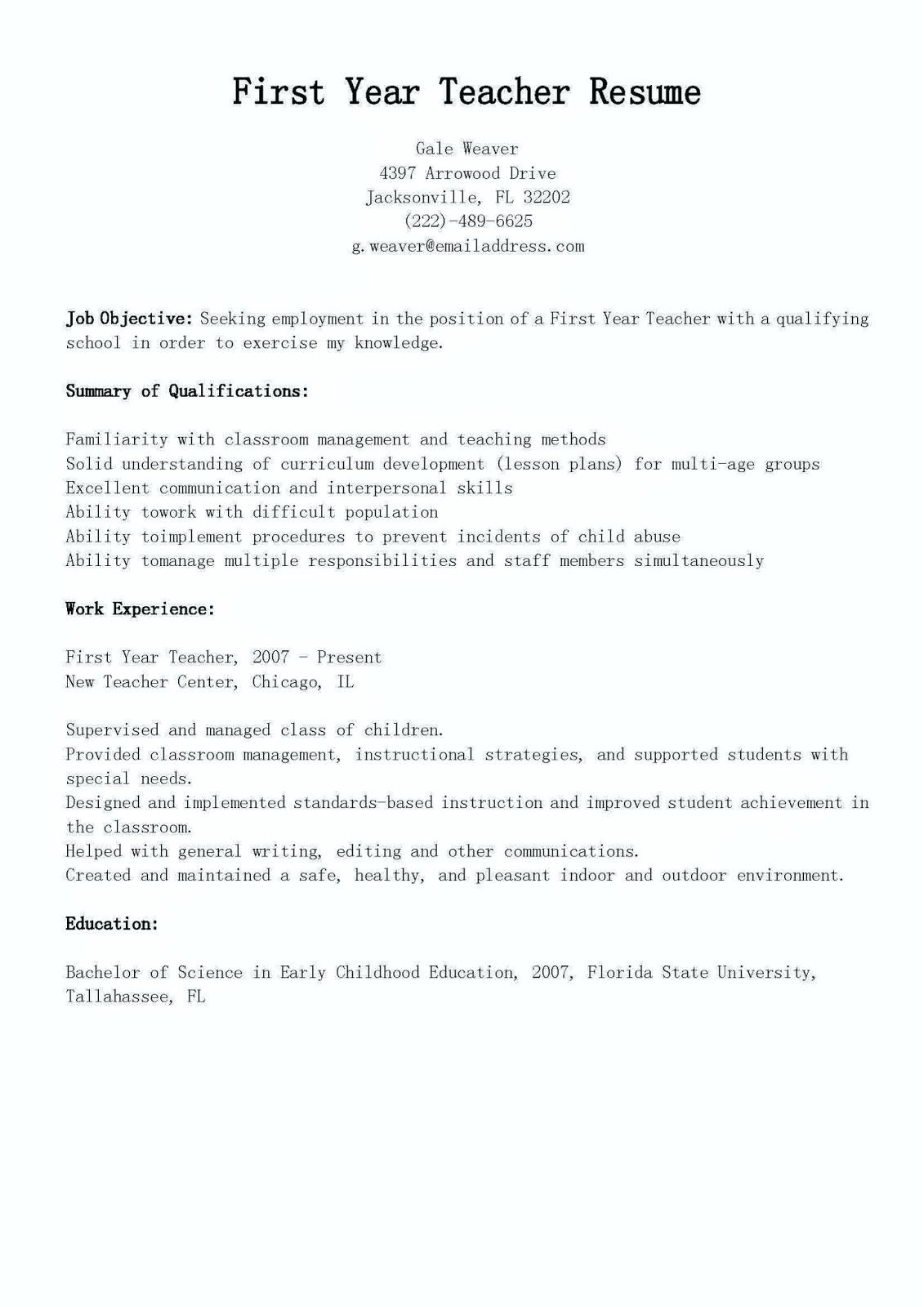 sample first resume