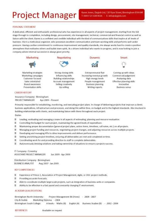 it project manager cv template 281