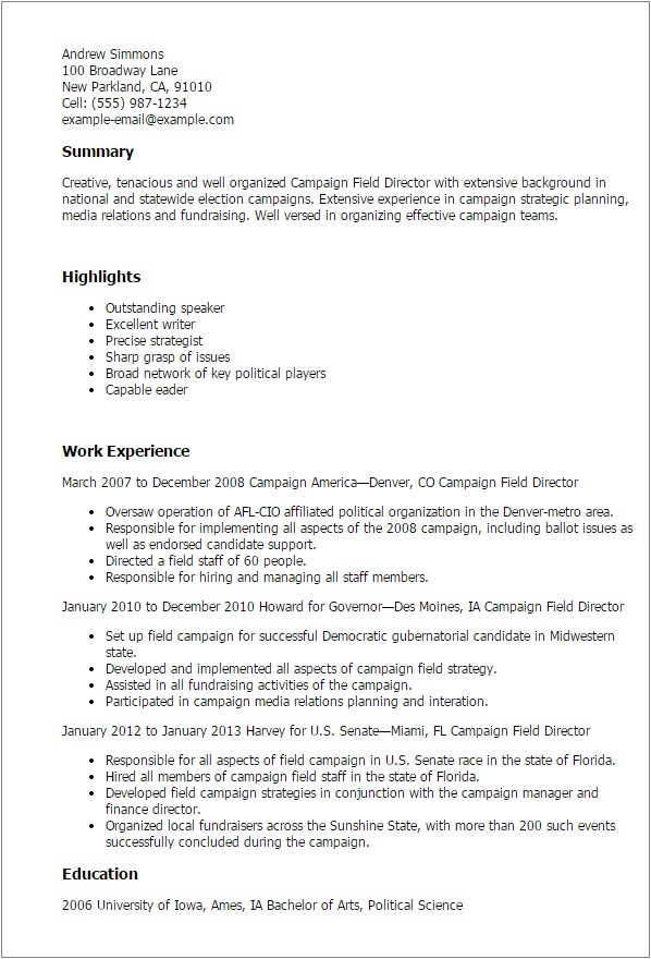 Political Campaign Resume Sample 1 Campaign Field Director Resume Templates Try them now