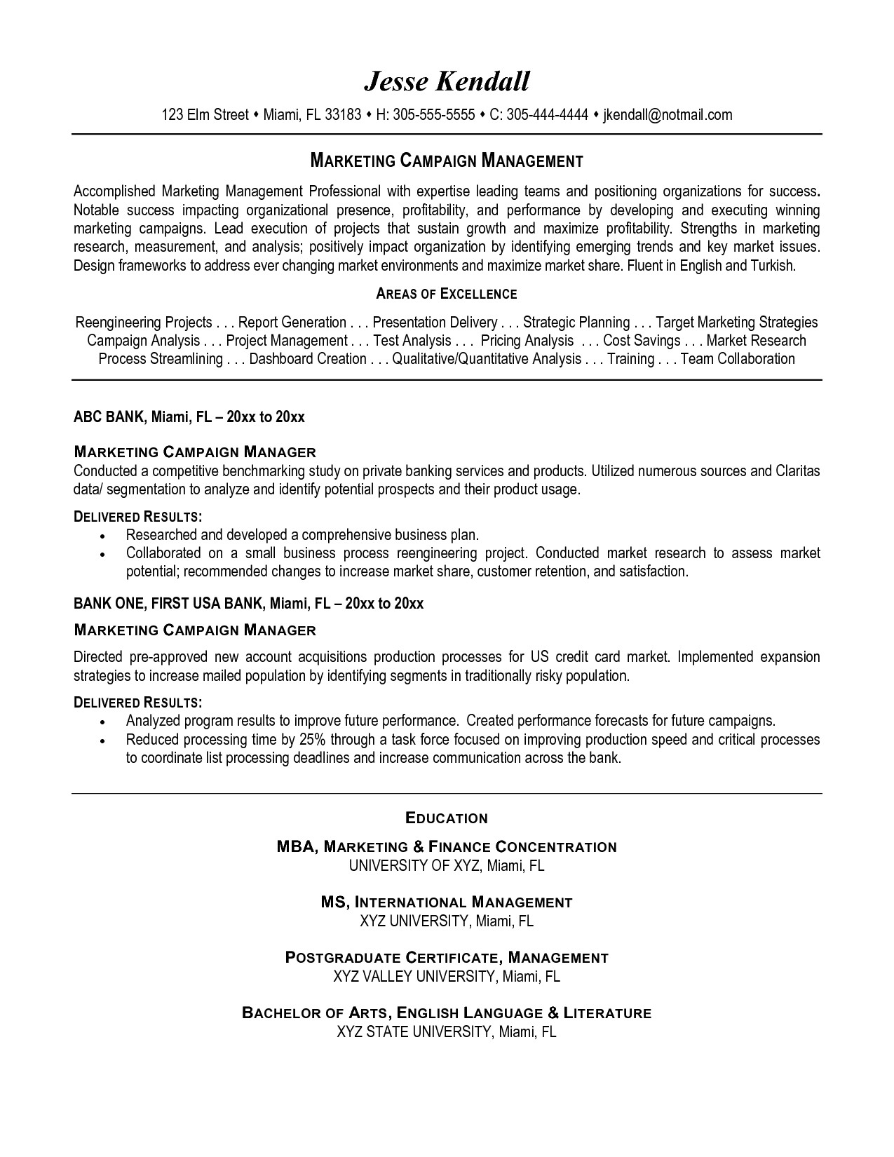 campaign manager resume