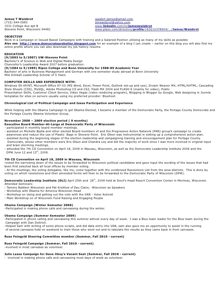 Political Campaign Resume Sample Resume Of A Political Campaign Manager thesistemplate