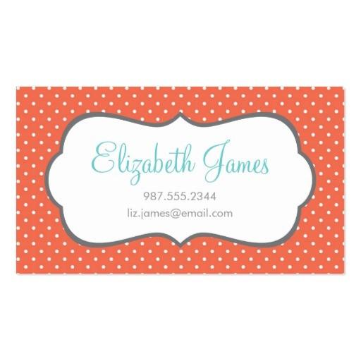 coral polka dot business card templates 240717107281882856