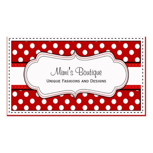 retro red polka dot business cards 240938594571046304