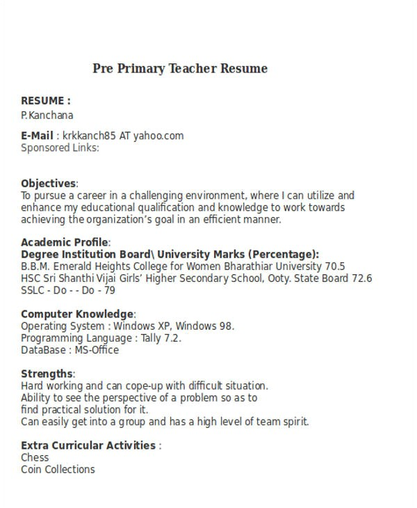 teacher resume word