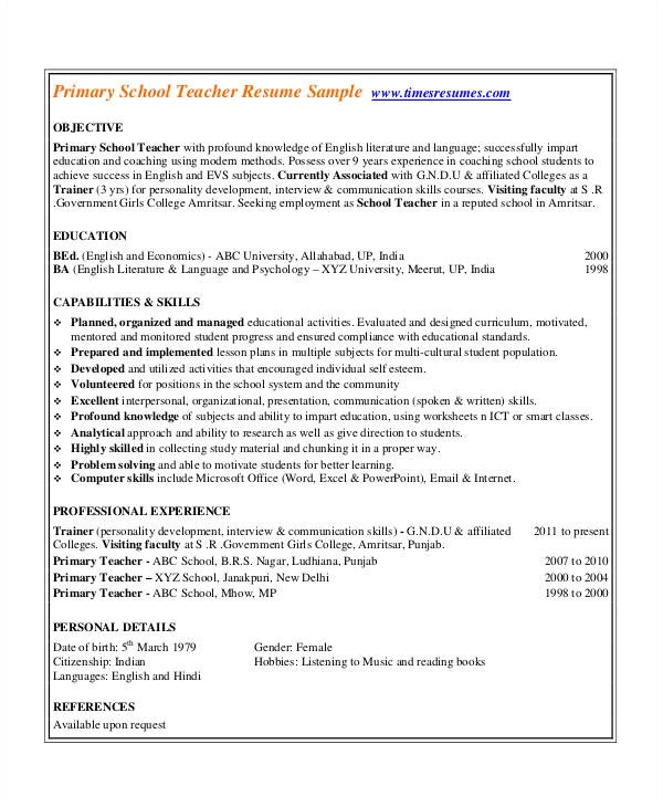Pre Primary School Teacher Resume Sample 29 Basic Teacher Resume Templates Pdf Doc Free