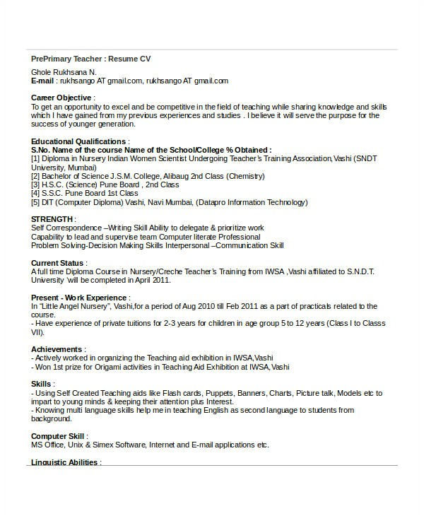 basic teacher resume