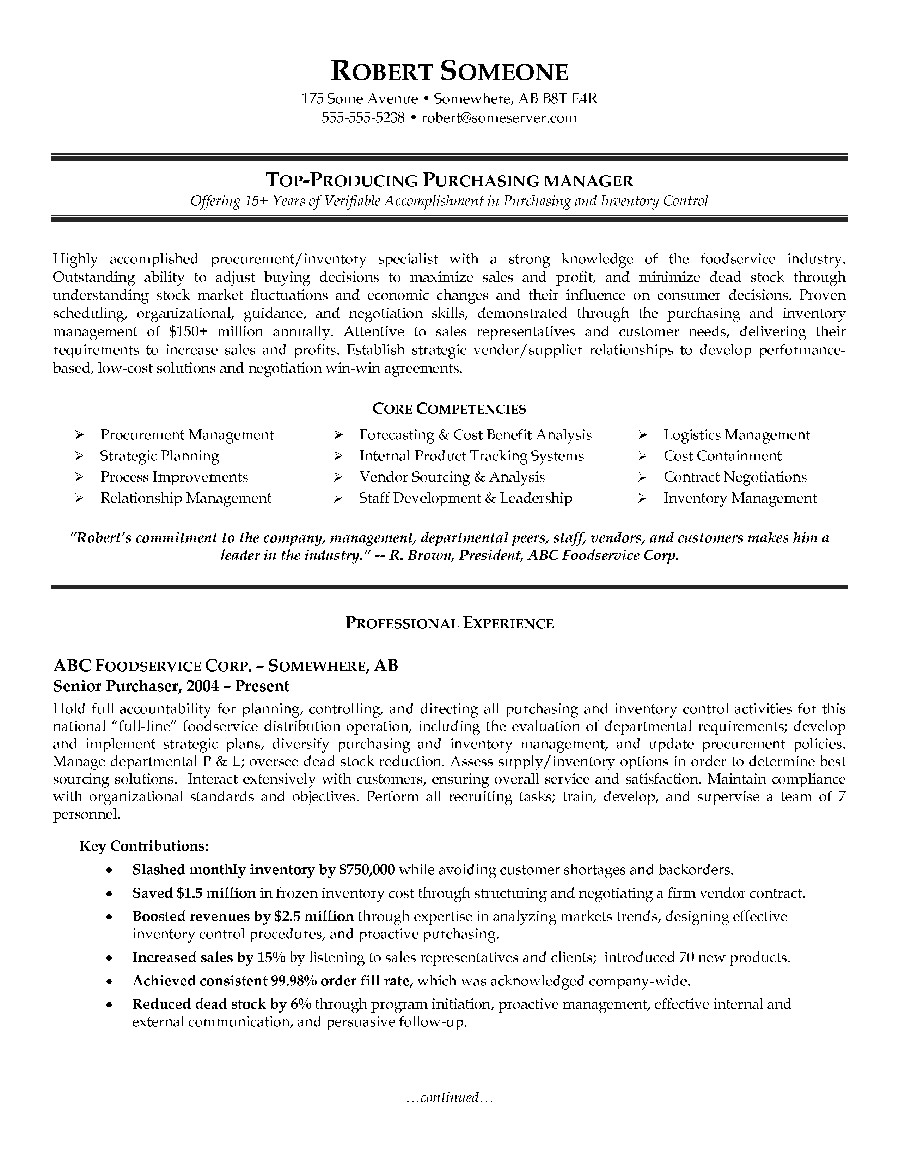 purchasing manager resume example page 1