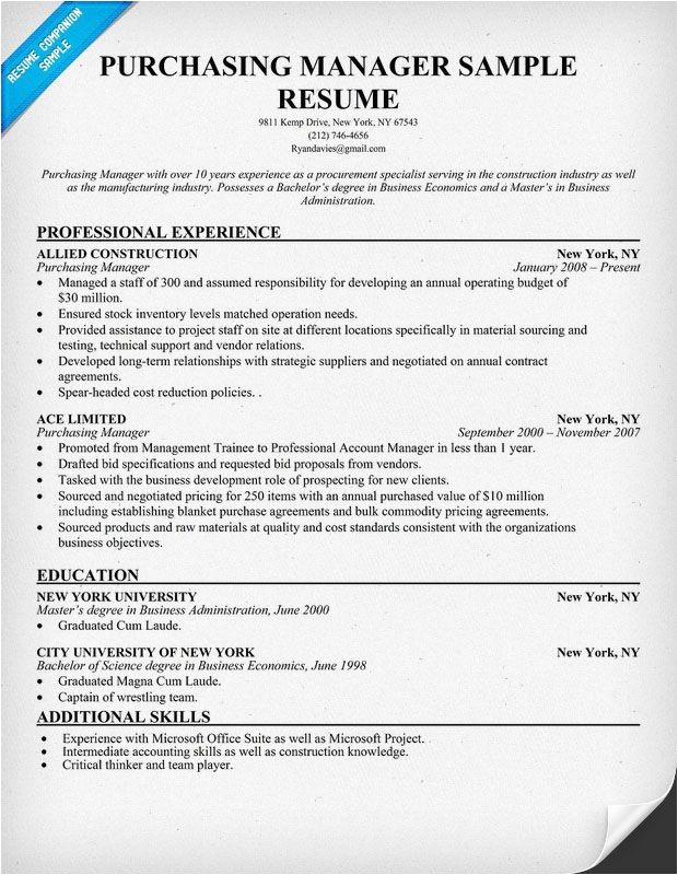 Procurement Buyer Resume Sample Purchasing Manager Resume Resumecompanion Com Resume