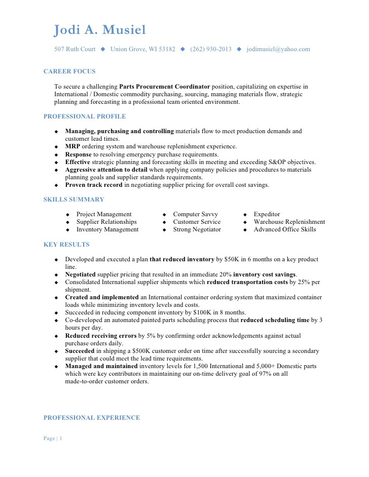 Procurement Coordinator Resume Sample Musiel Jodi A Resume Parts Procurement Coordinator
