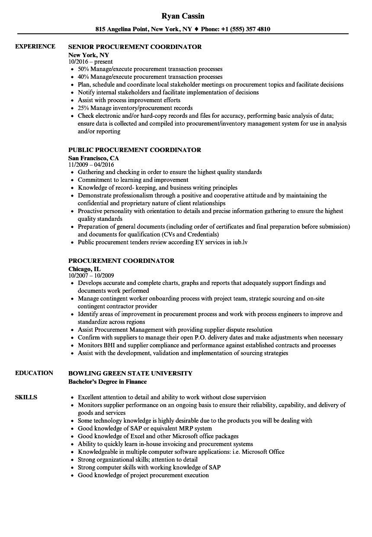 Procurement Coordinator Resume Sample Procurement Coordinator Resume Samples Velvet Jobs