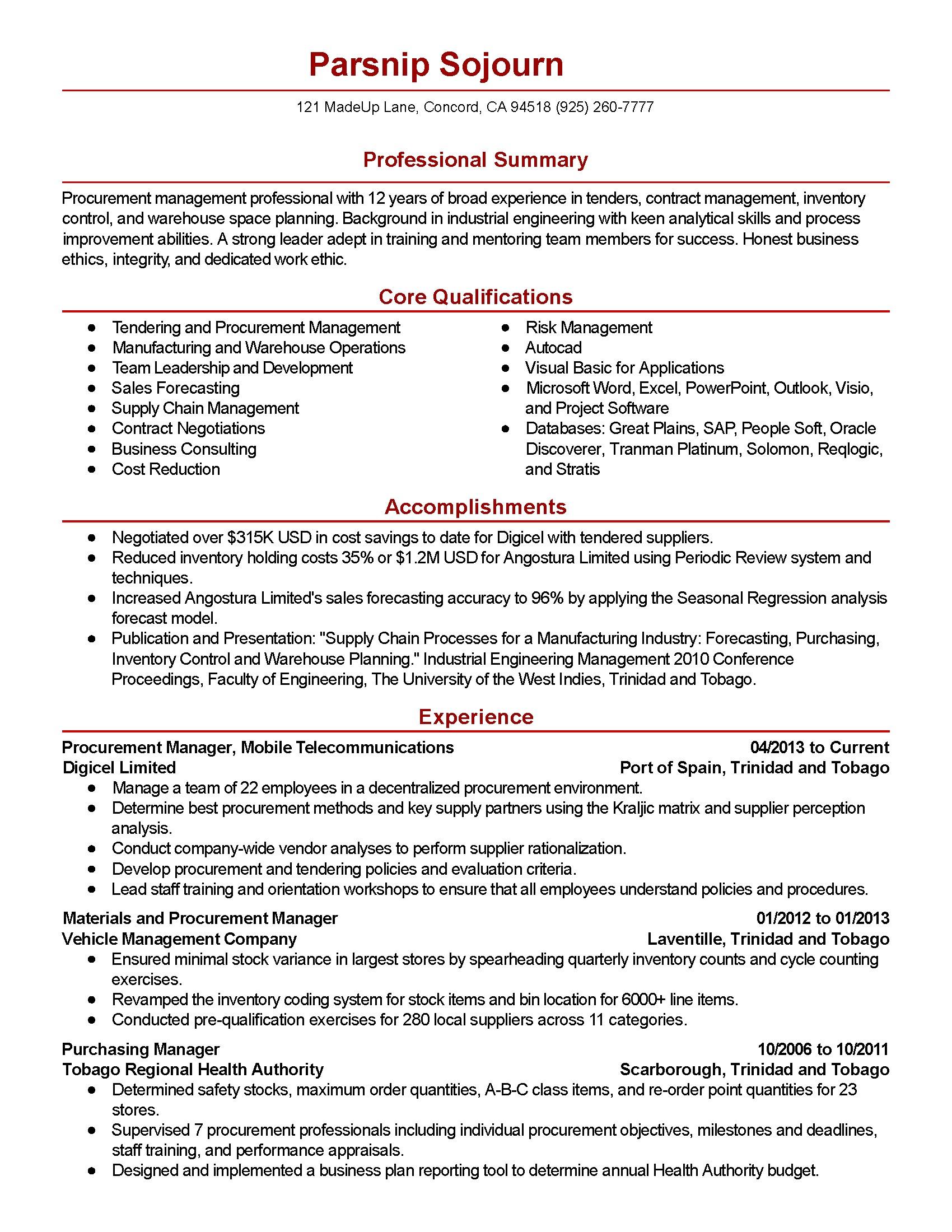Procurement Coordinator Resume Sample Professional Procurement Manager Templates to Showcase