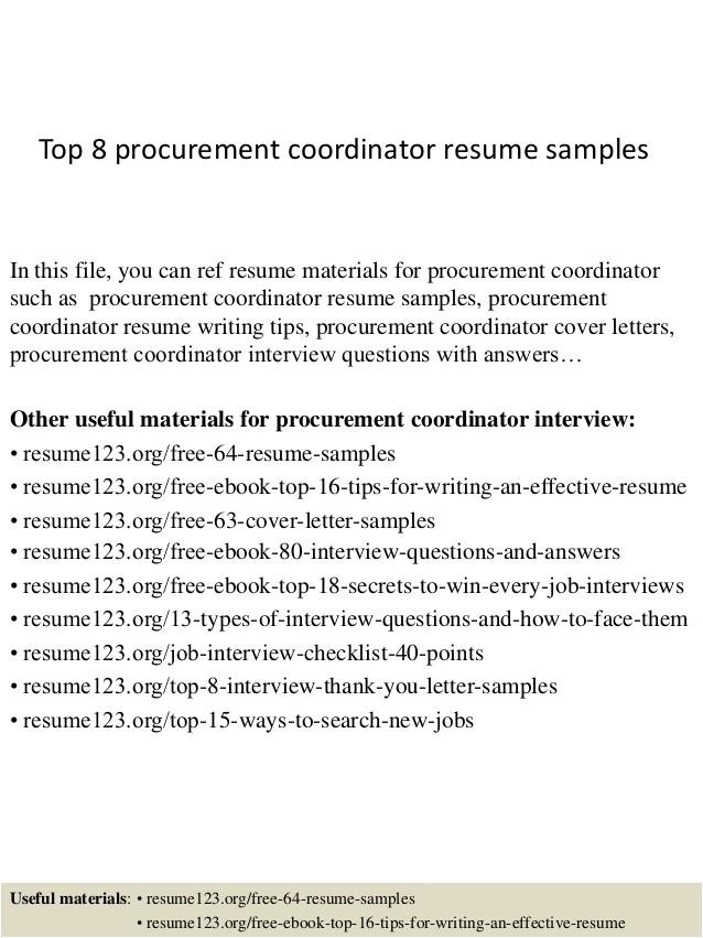 top 8 procurement coordinator resume samples
