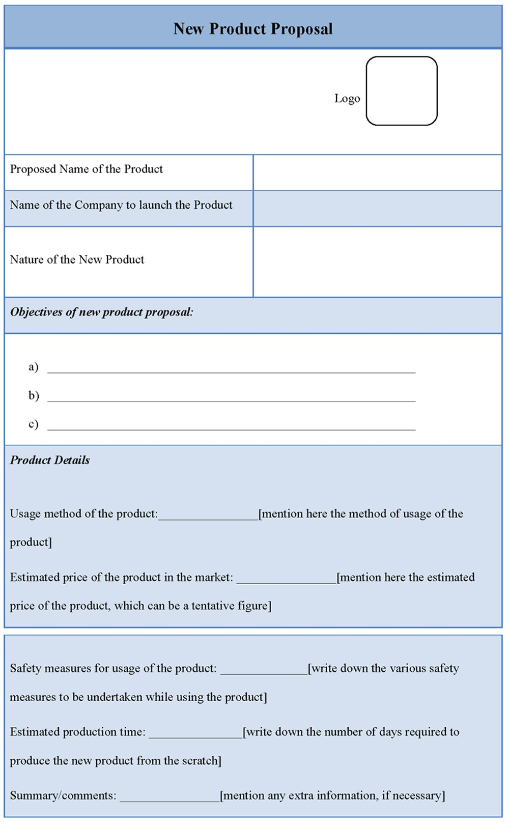 new product proposal template