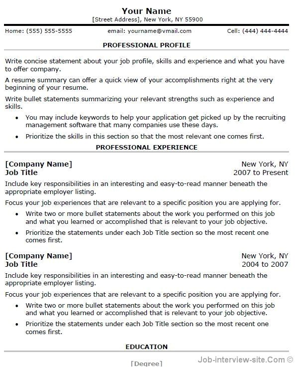 Professional Job Resume Template Free 40 top Professional Resume Templates