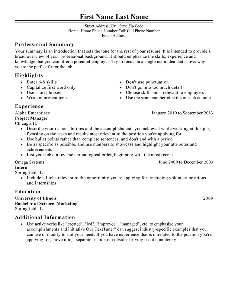 Professional Job Resume Template Free Professional Resume Templates Livecareer