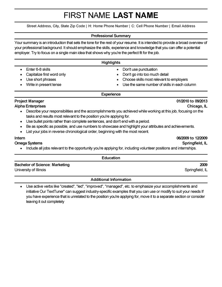 Professional Job Resume Template Free Resume Templates Fast Easy Livecareer