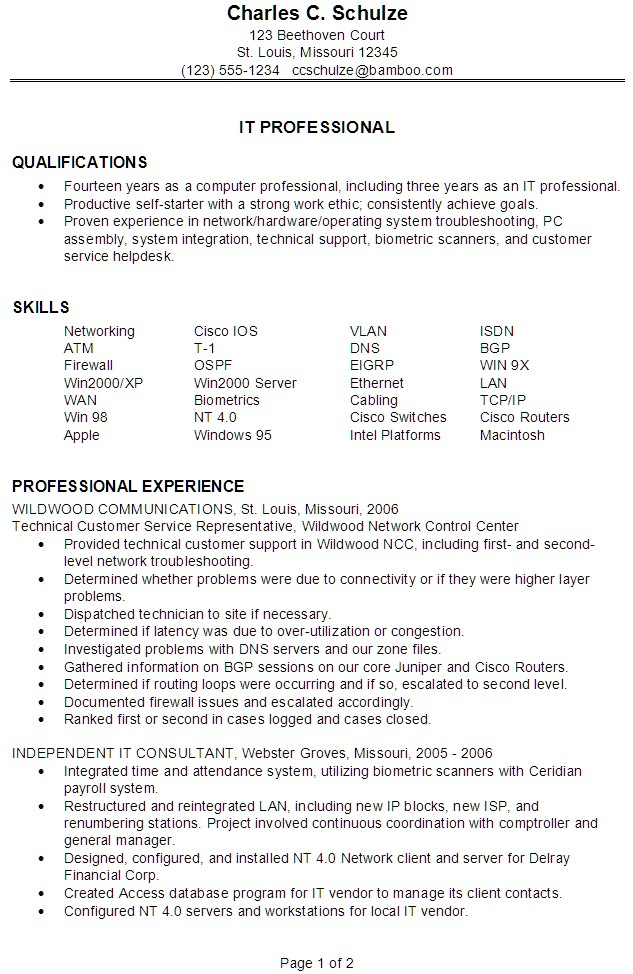 Professional Job Resume Template Resume Sample for An It Professional Susan Ireland Resumes