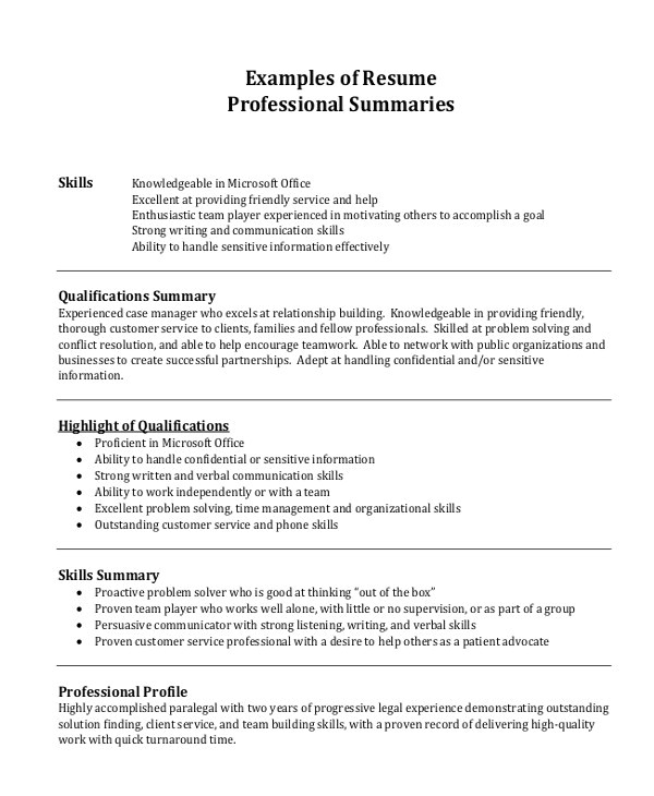 Professional Summary Resume Sample Resume Examples Professional Summary Examples Of Resumes