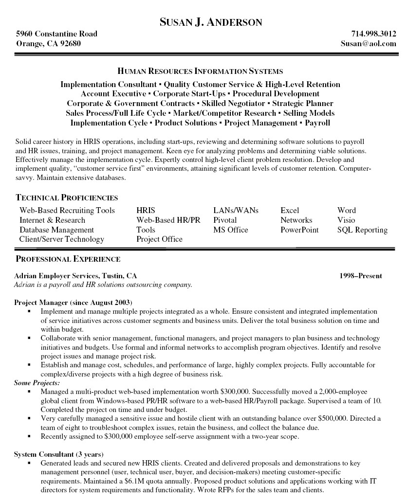 resume examples for project managers
