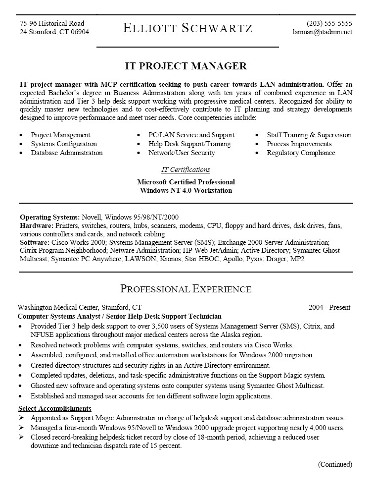 Project Manager Objective Resume Samples Project Manager Resume Sample Resume Template 2018